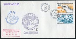 1986 T.A.A.F. French Antarctic Polar Dumont D'Urville Terre Adelie Cover. Expedition Penguin Seal Ship - French Southern And Antarctic Territories (TAAF)