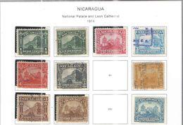 Nicaragua 1914 Nat.Palace E Leon Cath.Scott.349/354+356/358+360+ Nuovi/Usati See Scans - Nicaragua