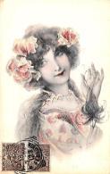[DC11546] CPA - DONNA CON FIORI - PERFETTA - Viaggiata 1902 - Old Postcard - Illustratori & Fotografie