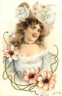 [DC11550] CPA - DONNA CON FIORI - IN RILIEVO - PERFETTA - Viaggiata 1902 - Old Postcard - Illustratori & Fotografie