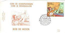 BELGIQUE 2429 FDC 1er Jour P991 Cachet DINANT CORI Le Mousaillon Bob De MOOR Ami HERGE Tintin 2 - Comics