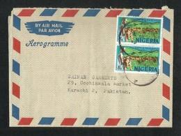 Nigeria 1976 Air Mail Postal Used Aerogramme Cover Nigeria To Pakistan Cattle Ranching Cow Animal - Nigeria (1961-...)