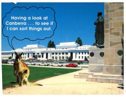 (456) Australia - ACT - Canberra Old Parliament And Kangaroo (with Stamp At Back Of Card) - Canberra (ACT)