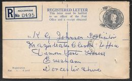 Great Britain - 1/9d Registered Stationery Evelope G Size - Used Feckenham 1961 - Entiers Postaux