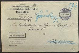 1906 , DINSLAKEN - WALSUM , SOBRE CIRCULADO , CON FRANQUICIA , AMTSGERICHT - TRIBUNAL DE DISTRITO - Cartas