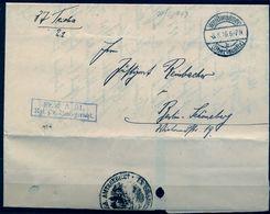 """1916 , ALEMANIA , WEISSWASSER , CARTA CIRCULADA , MARCA """" FR. D A. 21 . / KGL . PR . UMTSGERICHT """" - Cartas"""