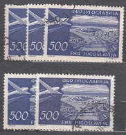 Yugoslavia Republic Five Used Airmail 500 Dinara Key Stamp Of The Set: 1951 Mi#692 - Gebruikt