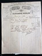 FACTURE 1892 ALEXANDRE HERLIN MACHINES A RINCER ET A BOUCHER LES BOUTEILLES PARIS VITICULTURE AGRICULTURE VENDANGE - France
