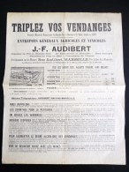 """PLACARD AFFICHE """" TRIPLEZ VOS VENDANGES """" J.F. AUDIBERT MARSEILLE PUBLICITE VINICOLE VITICULTURE VENDANGE OENOLOGIE - Agriculture"""