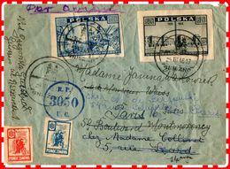 LETTRE PAR AVION De Pologne Gniezno à Paris1945 - Luftpost