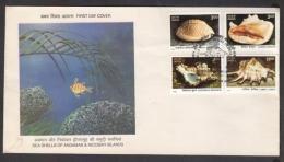 India  1998  Sea Shells Od Andaman & Nicobar Islands  4v  FDC  #  07442   D  Inde Indien - Coneshells