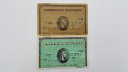 MEXICO - 2 CREDIT CARDS - AMERICAN EXPRESS  - GREEN & GOLD - USED SEE SCANS - Geldkarten (Ablauf Min. 10 Jahre)