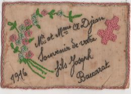 CPA - Rare Carte Brodée - Fleurs  - Souvenir - Ricamate