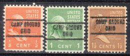 USA Precancel Vorausentwertung Preo, Locals Ohio, Camp Ground 734, 3 Diff. - Vereinigte Staaten