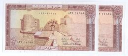 1983 Lebanon 25 Livre Lot 2 PCS Serial Numbers UNC  (Shipping Is $ 5.55) - Lebanon