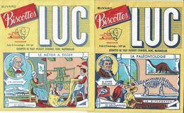 2 Buvards Biscottes LUC - Inventions & Découvertes (La Paléontologie Et Le Métier à Tisser) - Blotters