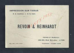 CDV CARTE DE VISITE REVOIN & REINHARDT IMPRESSION SUR TISSUS À LYON : - Visiting Cards