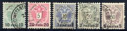 AUSTRIA PO In The LEVANT 1888 Surcharges On Arms Issue Used.  Michel 15-19 - Levant Autrichien