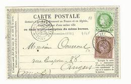 Maine Et Loire , Vernantes , Carte Postale Avec N° 53 Et 54 Oblitéré T17 Bis Et G C4148 Du 19 Dec 1875 - 1849-1876: Klassieke Periode