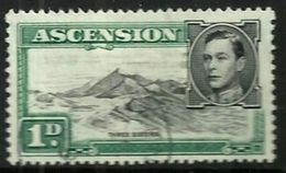 BRITISH ASCENSION ISLAND KGVI HEAD LANDSCAPE GREEN OUT OF SET(?) 1 PENNY MINTH 1938 SG39 READ DESCRIPTION !! - Ascension