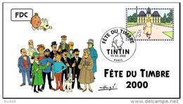 FRANCE 3303 FDC Premier Jour 24 Fête Du Timbre 2000 Paris TINTIN HERGE KUIFJE BEDE COMICS STRIP Moulinsart - Comics