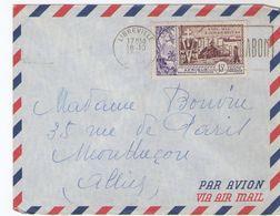 Lettre AEF 1956 Libreville Pour Paris -  TP Débarquement, Flamme Capitale Du Gabon (B009) - A.E.F. (1936-1958)