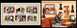 GUINEA BISSAU 2008 - Chess, Kasparov, Fischer - YT 2662-7 + BF426 - Schaken