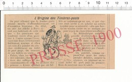 Presse 1900 Timbre-Poste Billet De Port Payé Facteur à Cheval Acheminement Postal Courrier Melle De Scudéry 216PF10V - Old Paper