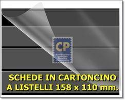 SCHEDE CARTONCINO FONDO NERO CON PROTEZIONE A 3 LISTELLI FORMATO 158 X 110 Mm. - VENDITA DA 100 PEZZI - Cartoncini A Listelli