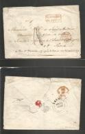 "Haiti. 1843 (11 March) Jacmal - France, Paris. Stampless Envelope Reverse BPO Cds + """"Colonies Art 12"""" (xxx) Nice Strik - Haiti"