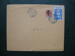 Lettre De 1944 Timbre  Poste Spéciale F.F.I. / M.L.N  Charles De Gaulle + Et Surcharge Croix Rouge Sur Petain - De Gaulle (Général)