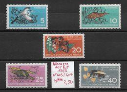Animaux Divers Abeille Castor Héron Papillon - Allemagne De L'est N°403 à 407 1959 ** - Francobolli