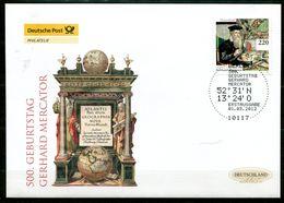 "First Day Cover Germany 2012 Mi.Nr.2918""500.Geburtstag Von Gerhard Mercator,Mathematiker,Theologe,Geograph""1 FDC - Geographie"