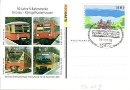"BRD Amtliche Ganzsache-Postk. PSo 60 II M. Priv. Zudruck ""50 J. S-Bahnstrcke Grünau-KW"" SSt 16.11.2001 BERLIN 12 - Cartoline - Usati"