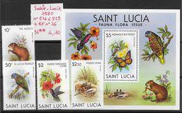 Animaux Divers Crabe Oiseau Colibri Perroquet Papillon - Sainte-Lucie N°526 à 529, BF N°26 1980 ** - Timbres