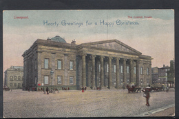 Lancashire Postcard - The Custom House, Liverpool - Hearty Greetings For A Happy Christmas  DC1490 - Liverpool