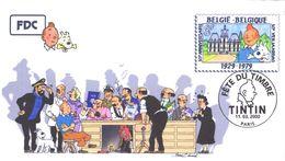 FRANCE 3303 FDC Premier Jour 39 Fête Du Timbre 2000 Paris TINTIN HERGE KUIFJE BEDE COMICS STRIP Moulinsart Edwood - Comics