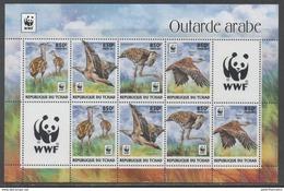 CHAD, 2017, MNH, WWF, BIRDS, ARABIAN BUSTARDS, SHEETLET  OF 2 SETS - W.W.F.