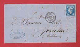 Lettre  / De Josselin / Pour Rennes  / 11 Octobre 1857 - Postmark Collection (Covers)