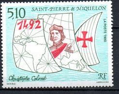 St PIERRE ET MIQUELON - 1992: 50e Anniv. Découverte De L'Amérique (N° 569**) - Neufs