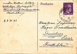ENTIER POSTAL ALLEMAGNE 04-10-1943 Adolf Hitler 3° Reich WW2 - Hallouin à Duperray MUNCHEN Hauptstadt Der Bewegung Nazi - Duitsland