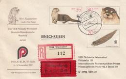 D U07/3a  Der VEB Philatelie Wermsdorf  Auf Der Philatelia`87, Köln, Wermsdorf - Einschreiben - Privatumschläge - Gebraucht