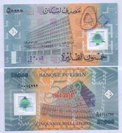 2014 Lebanon 50,000 Livre  50 Years Of The Bank Of Lebanon UNC    (Shipping Is $ 5.55) - Lebanon