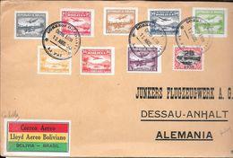 BOLIVIA BOLIVIE SOBRE CIRCULADO POR CORREO AEREO AÑO 1930 A JUNKERS FLUGZEUGWERK A.G. DESSAU - Bolivië