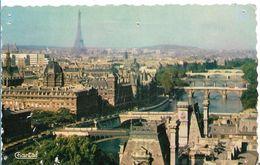 75  PARIS     VUE AERIENNE LA SEINE VU DE L  ILE DE LA CITE  TOUR EIFFEL - Die Seine Und Ihre Ufer