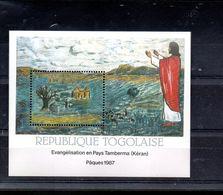 TOGO BLOC 259** SUR L EVANGELISATION EN PAYS TAMBERMA POUR PAQUES 1987 - Togo (1960-...)
