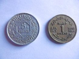 (E115)-MAROC-LOT DE 2 PIECES-1 FRANC 1945 ET 5 FRANCS 1951 - Coins & Banknotes