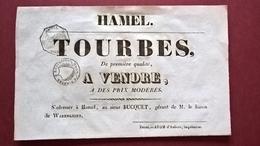"""Ancienne Affiche """"Tourbes à Vendre"""" Hamel (59) Fin 19eme Ou Début 20eme - Manifesti"""