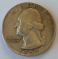 QUARTER  DOLLAR - 1959 - Washington - - 1932-1998: Washington