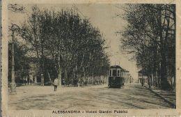 ALESSANDRIA VIALONI GIARDINI PUBBLICI 1918 ANIMATA TRAMWAY - Alessandria